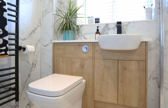 Bathroom Case Study: Monochrome and Wood Roper Rhodes  case study main image