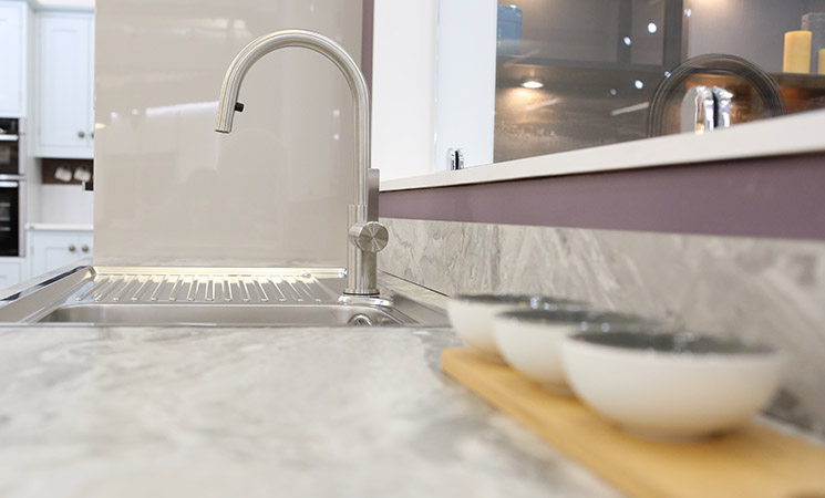 Sink mounted on top of the worktop