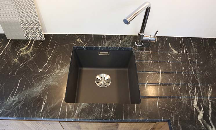 Small black single sink bowl perfect for a small kitchen
