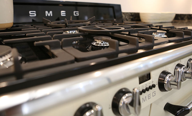 Smeg Cream Range Cooker in a fitted kitchen