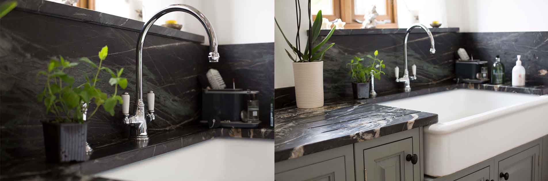 Kitchen Case Study: Beautiful farmhouse Belfast sink with marbled worktop