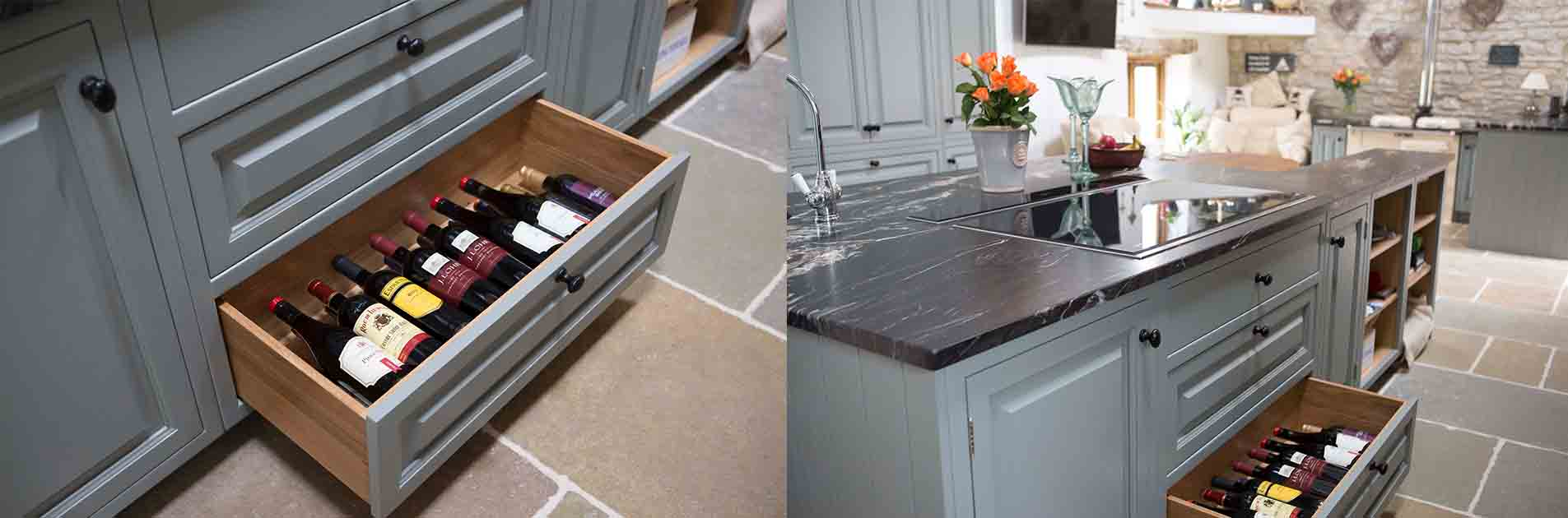 Kitchen Case Study: Prentice Windsor kitchen drawer cabinetry essential for red wine