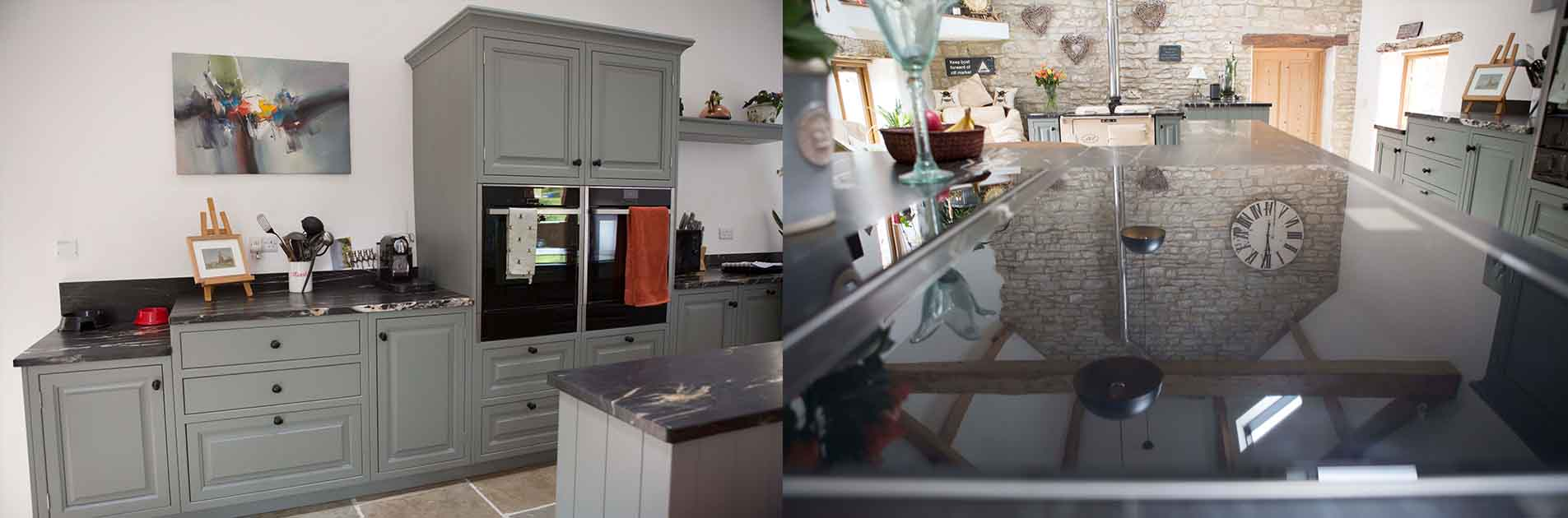 Kitchen Case Study: Prentice kitchen cabinetry and reflection of the beautiful high beams