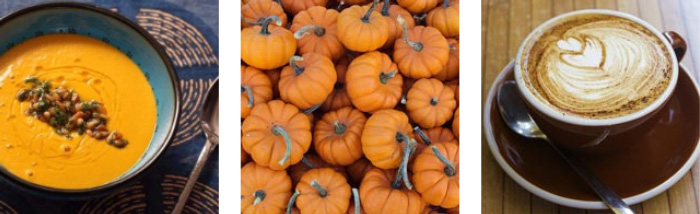 Colourful autumn food: pumpkin soup and warm coffee