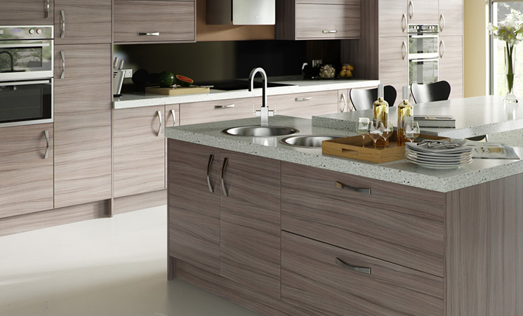 Slim lined, curve bow handles on matt wood effect fitted kitchen cabinets