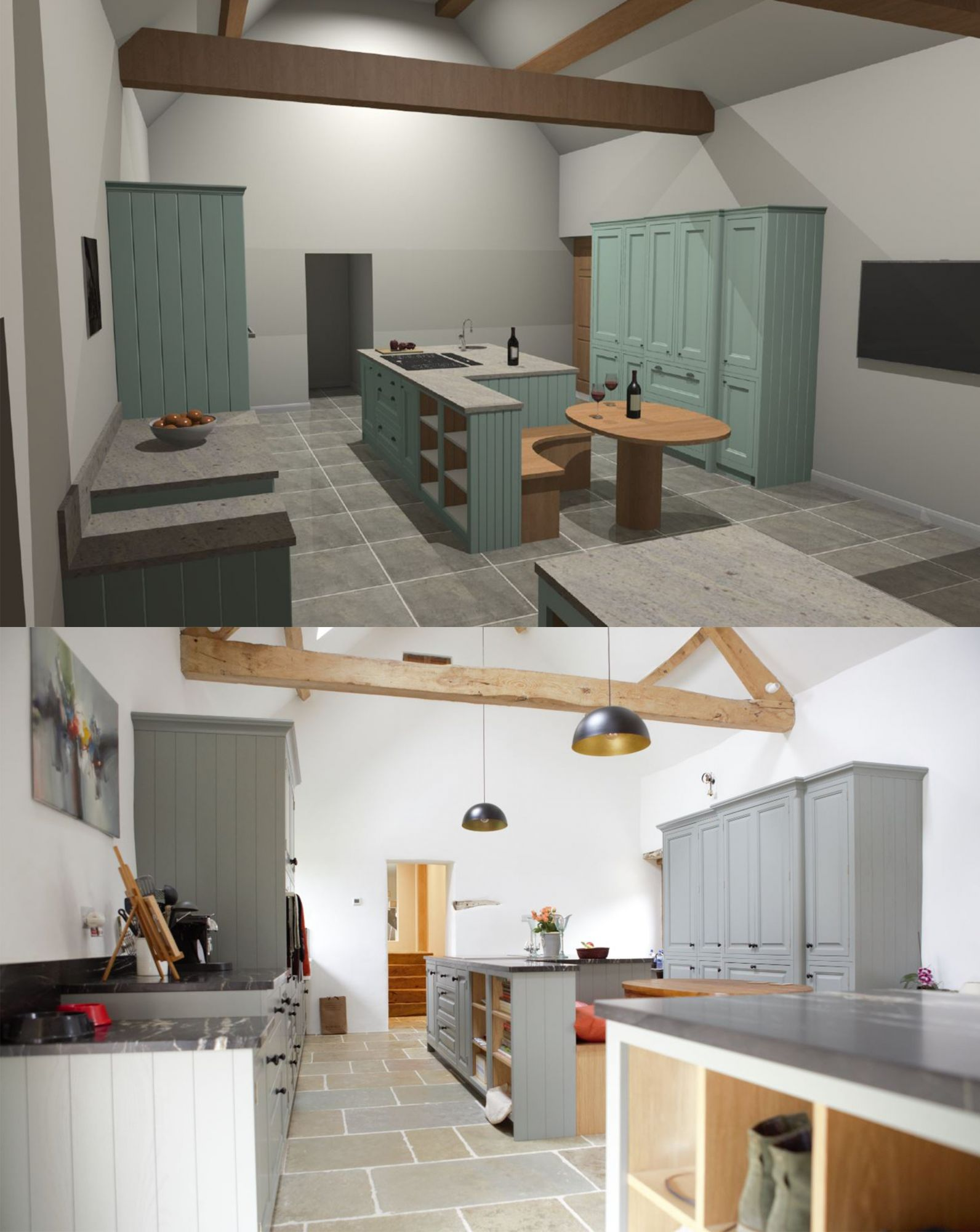 2 images of a kitchen