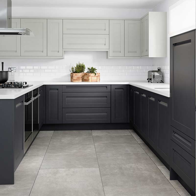 A grey fitted kitchen