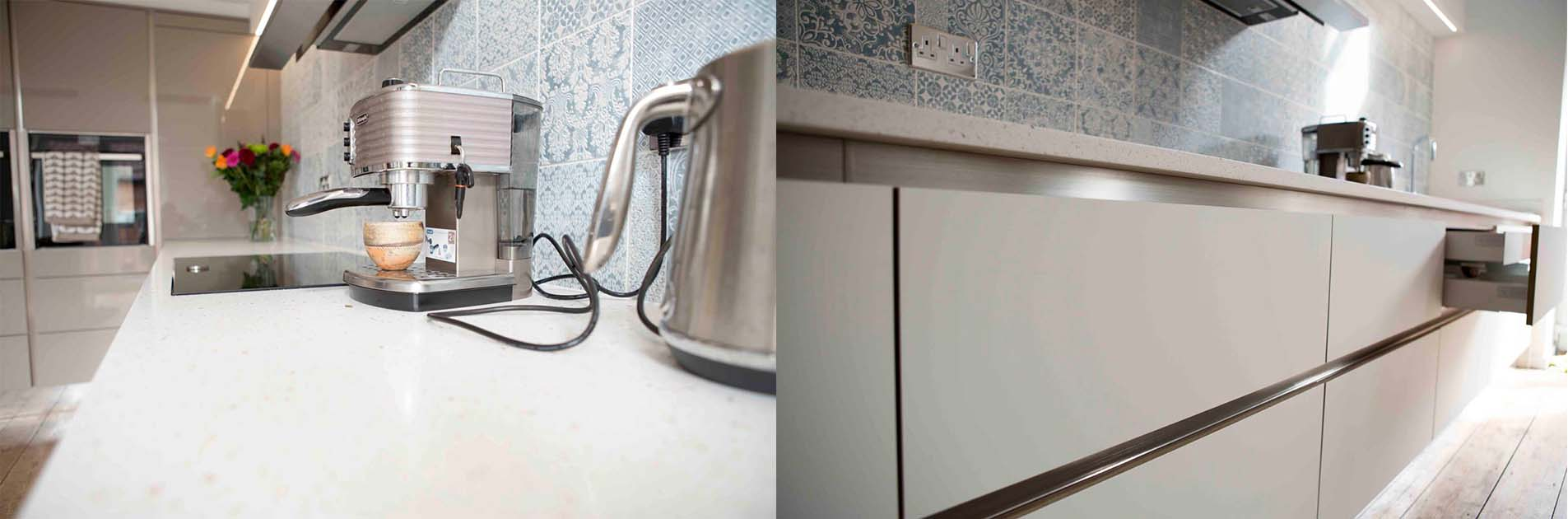 Kitchen case study: hob on white worktop and sleek handle-less kitchen drawer units