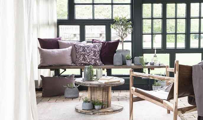 Scandi interior with lots of textures and wood bench