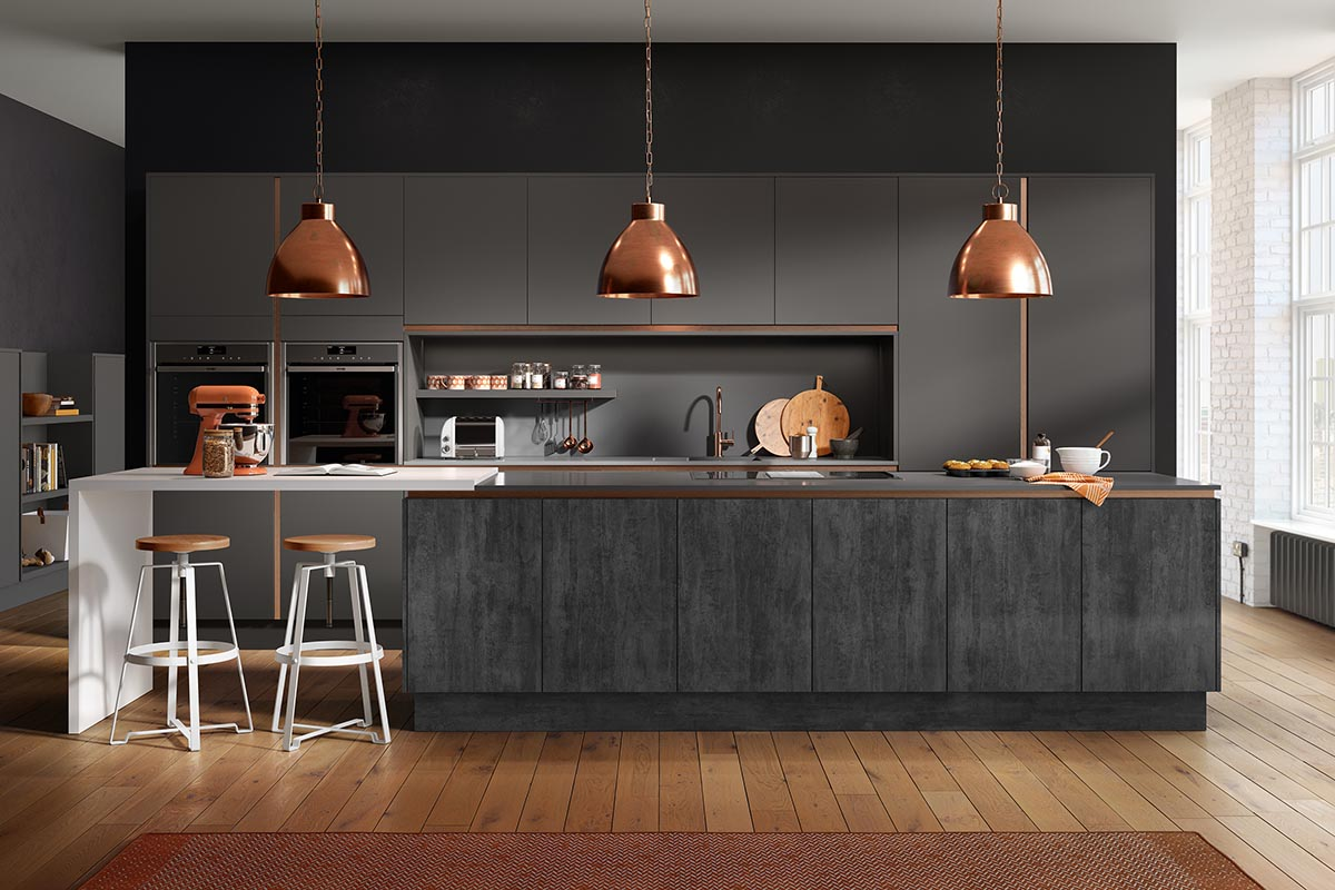 Mackintosh Lustre metallic, Chic Dusk Grey and Chic Graphite Fitted Kitchen