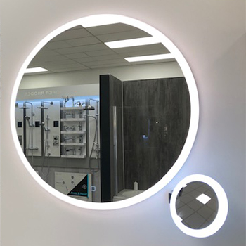 circular led illuminated bathroom mirror