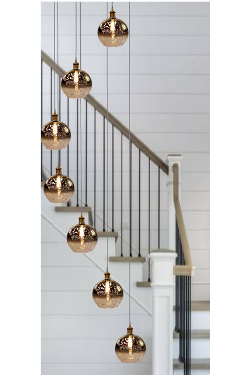 Hanging Pendant Lights on a stairwell