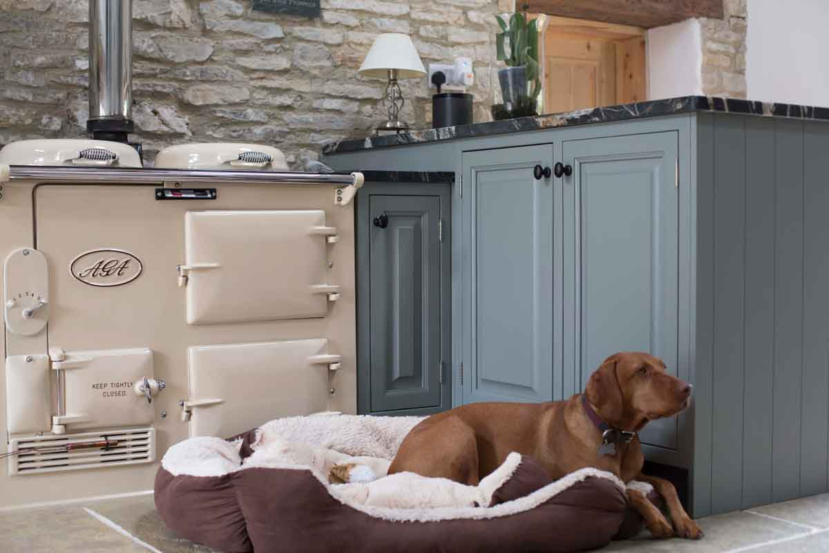Kitchen Case Study: Cream Aga with Eva the dog sitting beside it