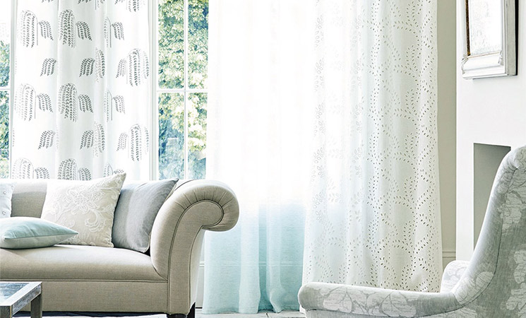 Sanderson fabric for made-to-measure curtains and blinds.