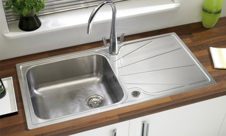 Sink bowl with drainage board