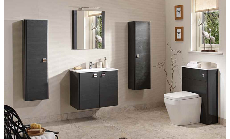 now bathroom furniture with dark wood effect units