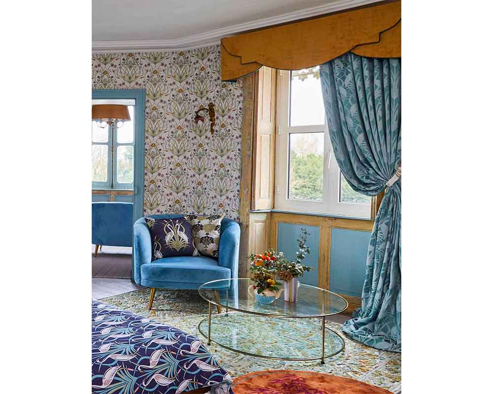 The Chateau by Angel Strawbridge Heron Curtains Teal - Width 168cm x 183cm Drop thumbnail one