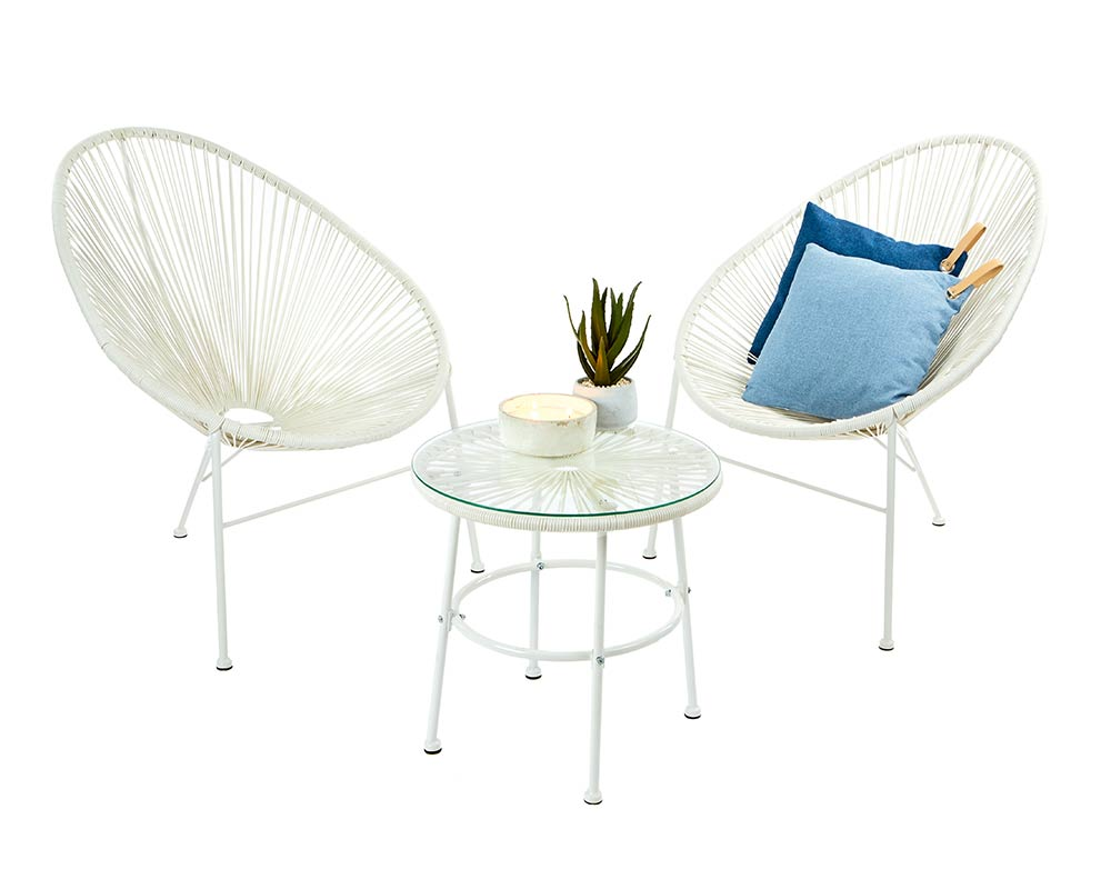 2 Seater White String Bistro Set  thumbnail one