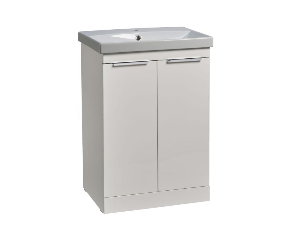R2 Contour 600mm freestanding wash unit in gloss white finish and basin thumbnail one