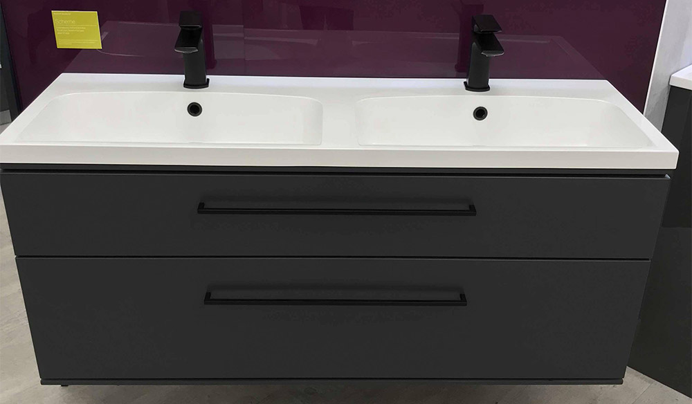 Scheme 1200mm wall mounted basin unit with double drawer thumbnail one
