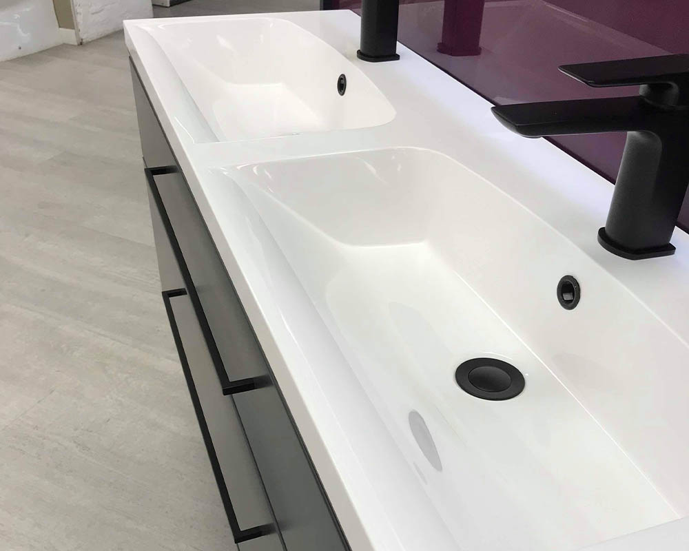 Scheme 1200mm wall mounted basin unit with double drawer thumbnail two