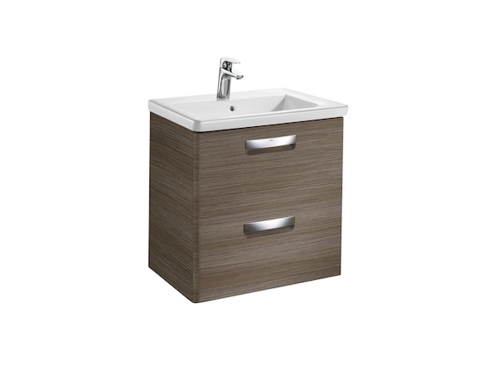 Roca The Gap-N 600mm basin and base unit with 2 drawers in dark textured wood finish thumbnail one