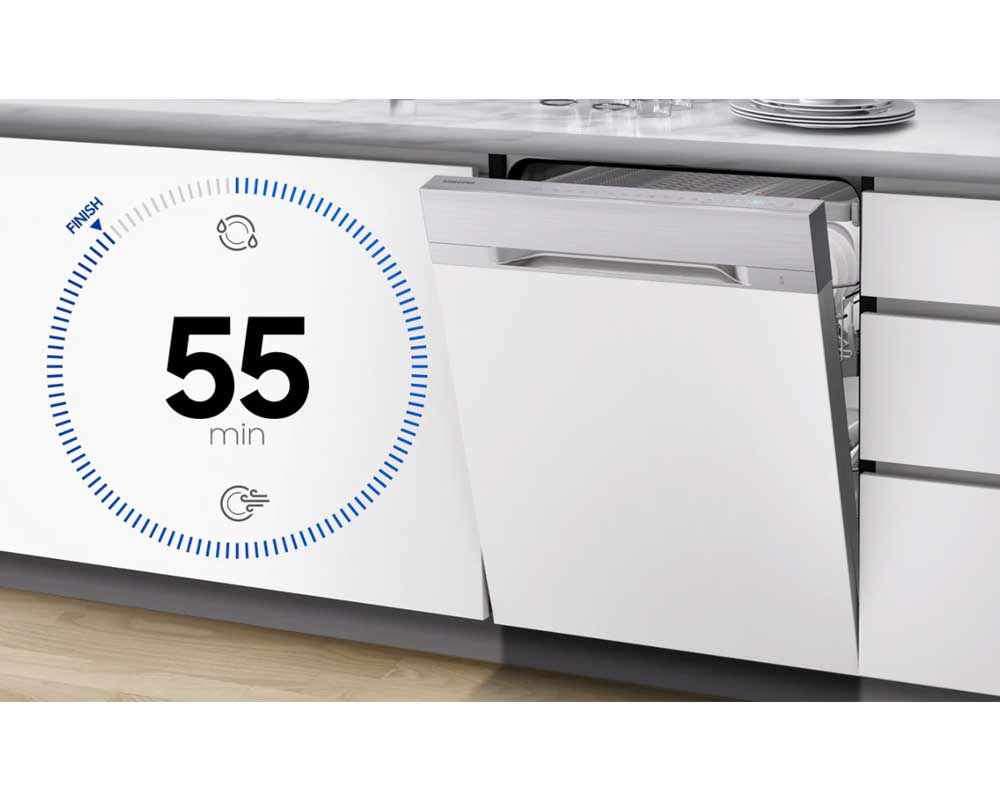 Samsung Fully Integrated Full Size Dishwasher with WaterWall Technology DW60M9970BB/EU thumbnail three