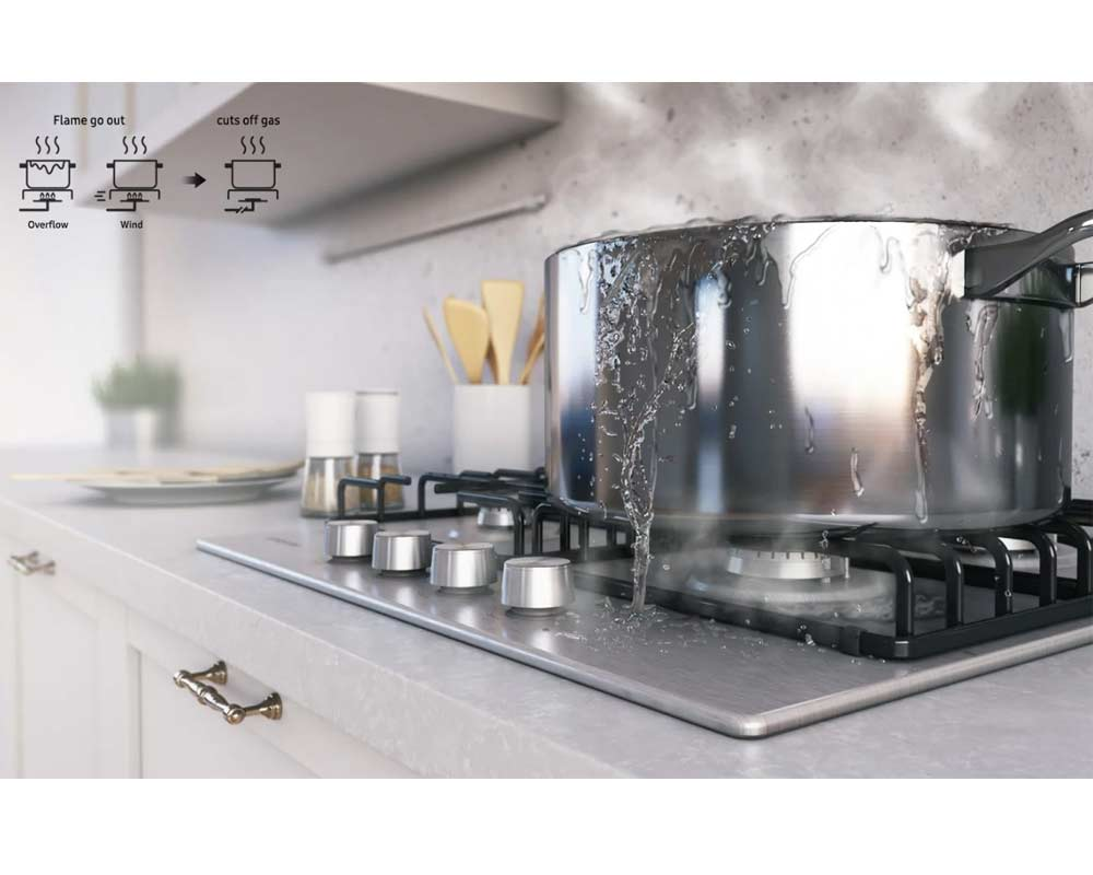 Samsung Built-in 4 Burner Gas Hob with Cast Iron Grates  NA64H3000AK/U1 thumbnail four