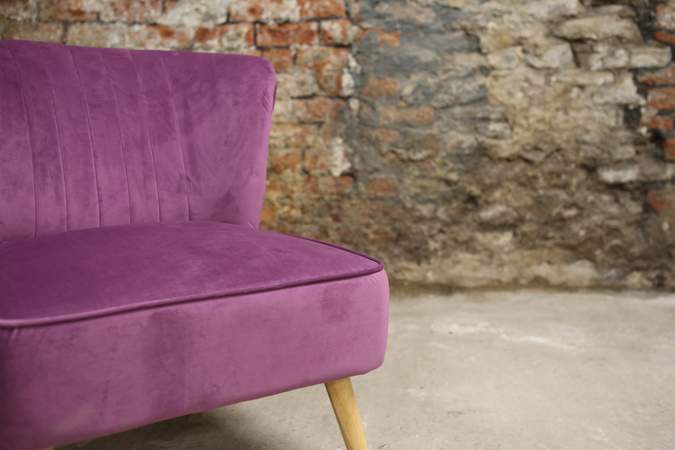 Decorate your living room with this indulgent, rich plum coloured velvet chair. Place this in a sunny spot for the perfect reading seat. thumbnail two
