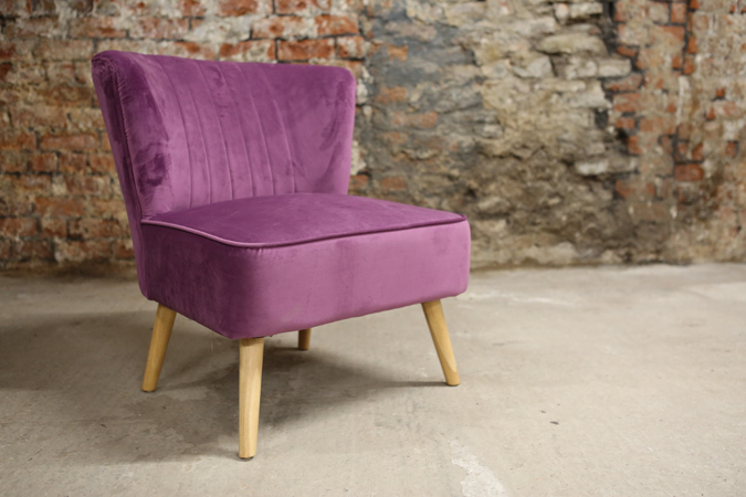 Decorate your living room with this indulgent, rich plum coloured velvet chair. Place this in a sunny spot for the perfect reading seat. thumbnail three
